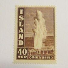 Iceland Scott 206 * MH Geyser, 40 Aur, fine + 102 card, superfleas