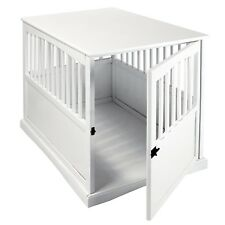 Large Dog Kennel Cage Crate Pet Eco Wood Oversized Puppy Bed End Table In White