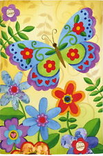 NEW LARGE EVERGREEN FLAG BEAUTIFUL BUTTERFLY CHEEERFUL COLORFUL FLAG  29 X 43