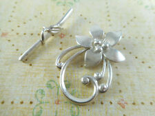 2 Silver Plated Lily Flower Toggle Clasps Findings 34110