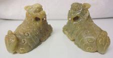 Antique Asian Chinese Jade Figurines Statue Foo Dogs Beast BIXIE 漢代 玉避邪獸 Nice
