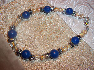 Handmade 10 inch BLUE and YELLOW Glass Bead ANKLET and Tibetan Silver Z-22