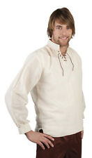 Mens Long Sleeved Medieval Ecru Cream Shirt Linen Fancy Dress Costume Outfit NEW