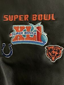Super Bowl XLI Colts vs. Bears Embroidered Lg Black Leather Jacket New With Tag