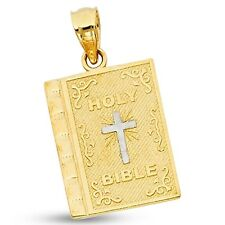 Solid 14k Yellow & White Gold Holy Bible Pendant Religious Cross Charm Christian
