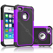 For iPhone 4 4S 4G Dual Layer Hybrid Rugged Rubber Hard Shell Phone Case Cover