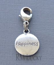 Dangle HAPPINESS Clip On Charm lobster claw Fit Link Chain, floating locket C202
