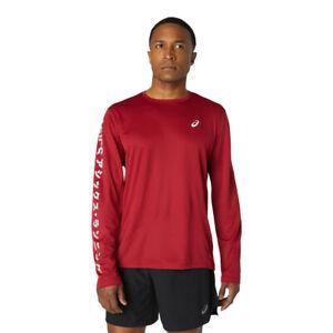 Asics Mens Katakana Long Sleeve Top Burgundy Sports Running Breathable