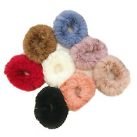 NEW Fuzzy Furry Set of 3 Elastic Hair Bands Ponytail Holder Scrunchies M1024