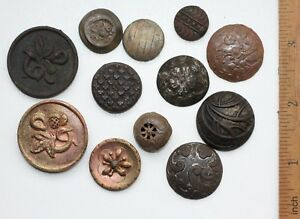 Group Of 12 Old Vintage Ornament Decorated Brass Buttons (NOW)