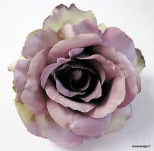 "4.5"" Variegated Mauve Gray Rose Silk Flower Hair Clip,PinUp,Updo,Rockabilly"