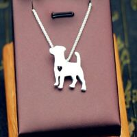 Silver Tone Jack Russell Terrier Dog Pet Puppy Animal Heart Women's Necklace