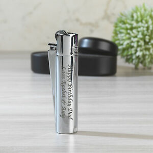 Personalised Free Engraving Metal Clipper Lighter Silver Gift Mens Dad Son Uncle