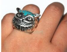 Tibetan Silver Blue Color Lovely Fortune Smiling Cheshire Cat Ring Dia.17mm