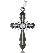 Black Stainless Steel Steampunk Helm Cross Necklace N78