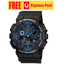 Casio G-Shock Analogue/Digital Mens Black/Blue XL Watch GA100-1A2 GA-100-1A2DR