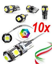 10x Lampadina auto LED XENON BIANCA T10 w5w 5Smd 5050 Canbus No-Error 6.000k 12v