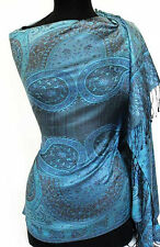 Shades of Blue Silk Jamawar Shawl with Black Reversible Paisley Jamavar Pashmina