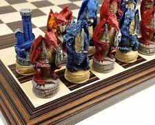 """Medieval Dragon Fantasy Red & Blue Chess Set W Ebony & Maple Wood Board 14"""""""