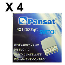 LOT of 4 pcs PANSAT 4x1 DiSEqC 2.0 Weather Cover Switch 4-way FTA Satellite