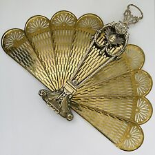 Vintage Peacock Cameo Lady Face Victorian Brass Fan Fireplace Folding Screen