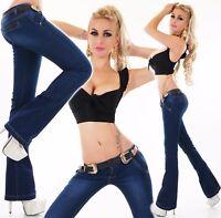 Jeans da Donna Pantaloni a Vita Bassa Svasati Aderenti Cintura XS-XL