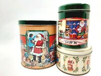 Three Collectible Santa Claus Christmas Tins Holiday Storage Containers