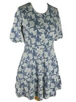 Topshop Blue Embossed Floral Aline Stretch Flared Skater Dress Size 12 M
