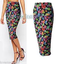 Women Floral FASHION Party Club Tight Slim Fit Stretch Midi Pencil Skirts MEDIUM