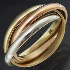 Larger 3-Colour 9ct SOLID GOLD RUSSIAN WEDDING RING yellow white rose Band Sz S