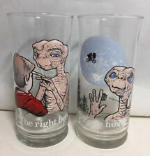 2 Vintage 1982 Pizza Hut E.T. (Extra Terrestrial) Collectable Glasses