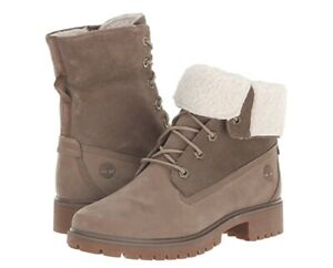 Womens Timberland Jayne Waterproof Fleece Fold-Down Boots SZ 10.0  Brown Nubuck