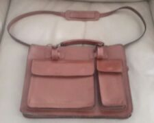 Petite Italian Leather Tablet Laptop Briefcase w/ Two Interior Compartments