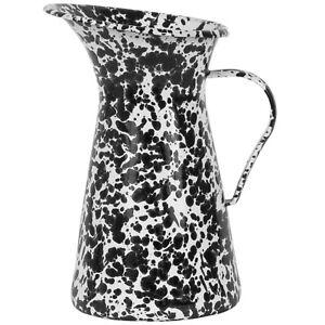 Decorative Black & White Enameled Metal Flower Pitcher Vase Jug with Handle