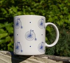 Penny-Farthing Bicycle Coffee Mug White Blue Old Fashioned Cup Made in Japan