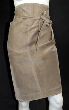ALAIA Vintage Taupe Pigskin Suede Wrap Skirt 42
