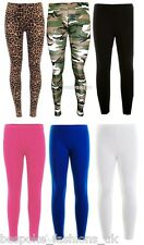 Girls Kids Full Length Plain Fitted Viscose Stretchy Leggings Teens Ages 7 to 13