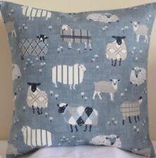 "Handmade Cushion Cover 16"" cotton French Farmhouse cottage sheep lamb blue farm"