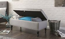 Windsor Cushioned Hopsack Fabric Ottoman Storage Seat Blanket Box - Grey