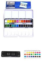 Watercolor Art Paint Set Portable Painting Kit 24 Premium Half Pans Brush Pen