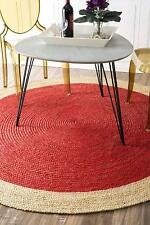 60x60Cm Braided Rug Handmade Red Jute Floor Mat Round Floor Carpet Free Ship