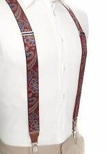 SADDLEBRED Mens Burgundy Paisley Stretch Clip Suspenders *NWT