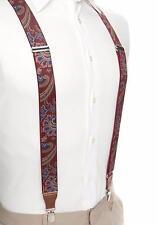 SADDLEBRED Mens Burgundy Paisley Stretch Clip Suspenders *NWT