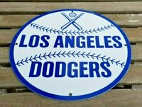 VINTAGE LOS ANGELES DODGERS PORCELAIN MAJOR LEAGUE BASEBALL STADIUM FIELD SIGN