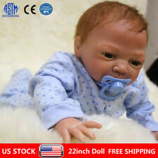 "22"" Reborn Dolls Newborn Baby Silicone Vinyl Real Baby Boy Doll Gift + Clothes"
