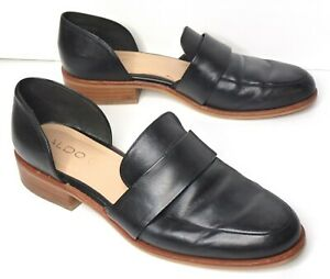 ALDO Womens Black Leather Shoes Loafer Flats With Side Cut-outs Size US 9