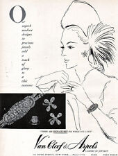 Van Cleef & Arpels Jewelry BRACELET Earrings DIAMOND RING 1947 Print Ad