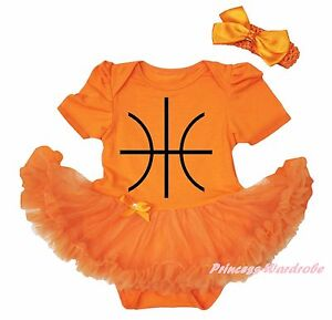 Halloween Basketball Ball Orange Cotton Bodysuit Girl Baby Dress Outfit NB-18M