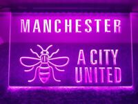 MANCHESTER (& BEE) A CITY UNITED Pink Sign - Light Advertisement Neon LGBT PRIDE