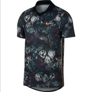 Nike Court Slam Tennis Men Polo Shirt Floral Print Black AO0284 010